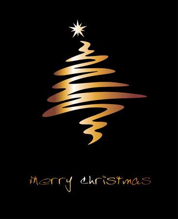 Christmas tree made from golden snowflakes Illusztráció