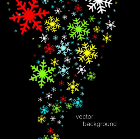 Happy New Year greeting card. Snowflake vector illustration.