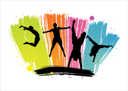 ide: Silhouettes of jumping against color dabs. Vector illustration.