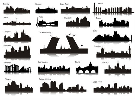 Popular cities of the world Stock Illustratie