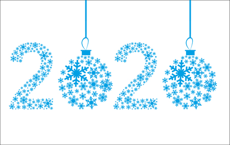 Happy New Year 2020 greeting card. Snowflake background