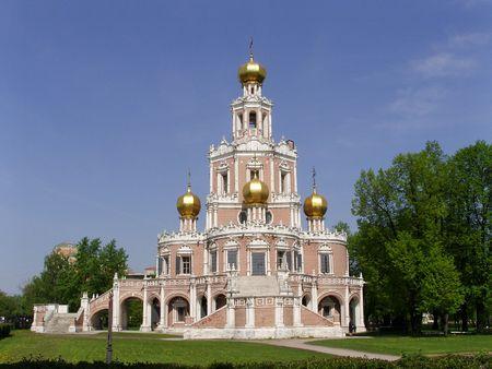 Temple de la couverture de la Vierge � Fili (Moscou) Banque d'images
