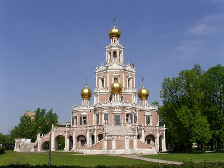 Temple of the Cover of the Virgin in Fili (Moscow) Stock Photo