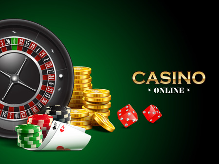 Casino background with dice, golden coins, cards, roulette and chips. Reklamní fotografie - 77481650