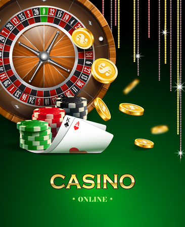 wheel of fortune: Casino background with golden coins, cards, roulette and chips.