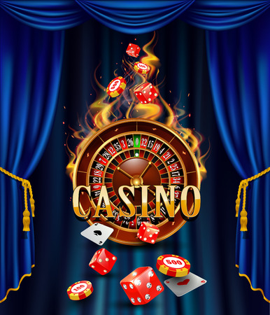 card suits symbol: Casino background with cards, chips, craps and roulette on fire. Vector illustration.
