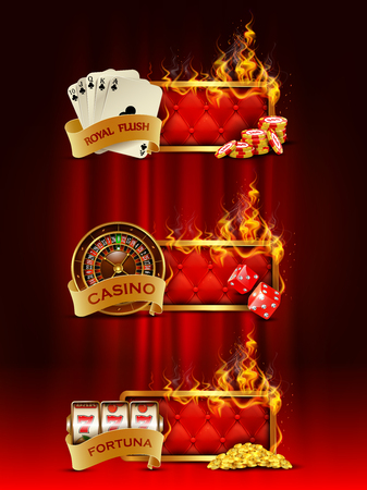 Casino banners set with cards, chips, slot machine, dice, roulette against curtain backdrop.