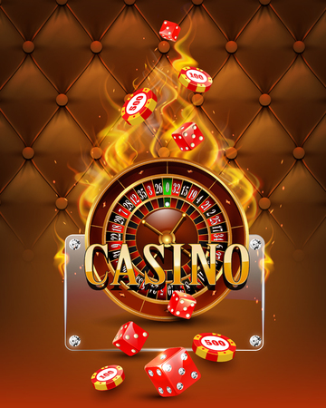 wheel of fortune: Casino background with chips, craps and burning roulette. Vector illustration.