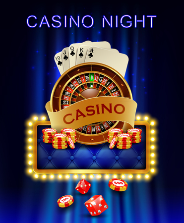 Casino background with cards, chips, craps and roulette on fire. Vector illustration.