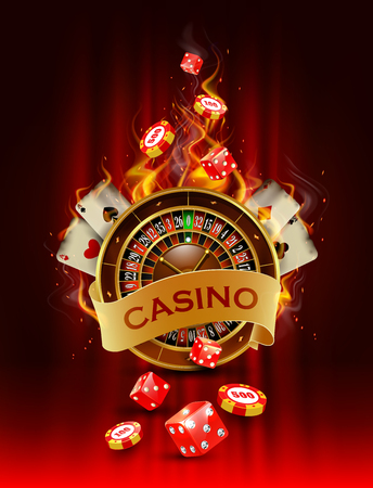 wheel of fortune: Casino background with cards, chips, craps and roulette on fire. Vector illustration.
