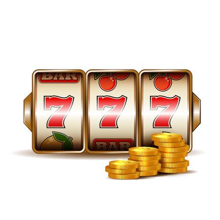 Casino slot machine with coins.