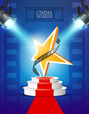 Cinema background with star and podium. Illustration