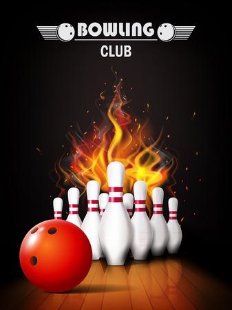 Bowling poster with ball and bowling pins. Ilustração