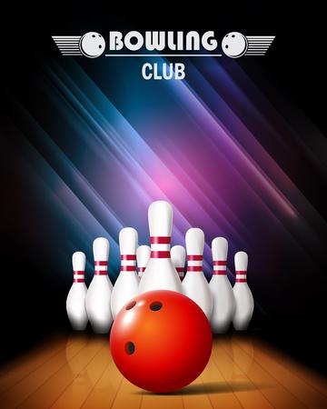 Bowling poster met bal en bowling spelden. Stock Illustratie