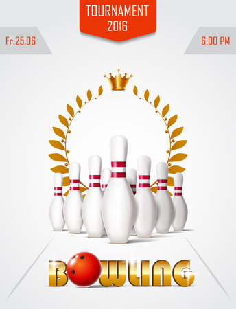 Bowlingspiel-Turnierplakat mit Ball, Lorbeerkranz und Bowlingspielstiften. Vektorgrafik