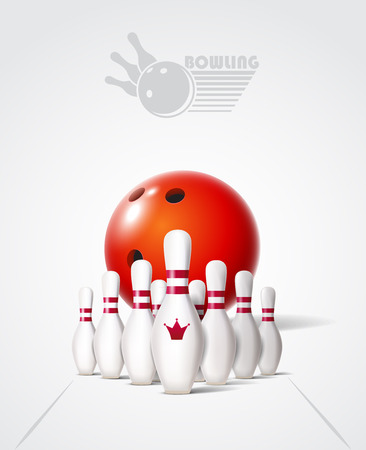 Bowling poster with ball and bowling pins. Illustration