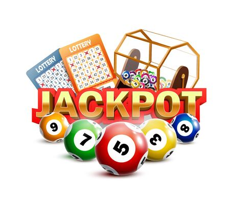 Lottery Jackpot with tickets, wheel and balls.
