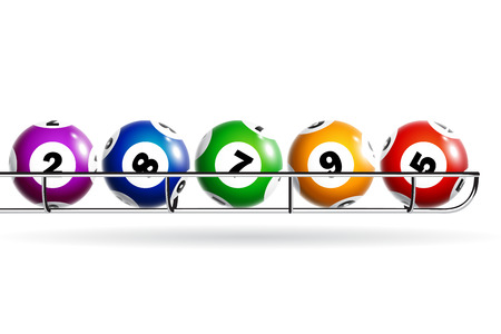 Colorful lottery balls isolated on white background.