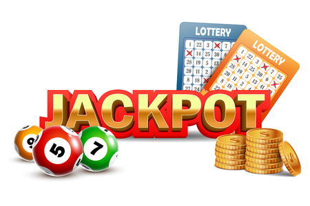 Lottery Jackpot background with coins, balls and tickets.