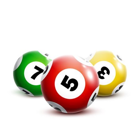Colorful lottery balls isolated on white background. Stock Illustratie
