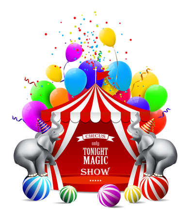 Circus background with colorful balloons, elephant, tent and gift boxes. Illustration