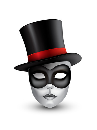 Carnival mask with hat isolated on white background.