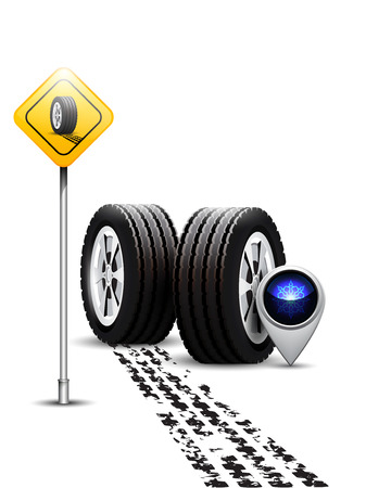 Car tire with winter sign and tire treads on white background Illustration