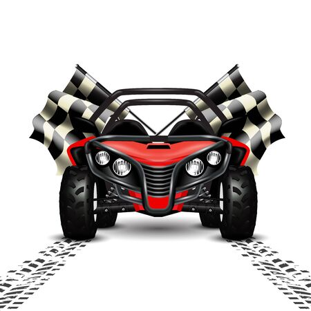 Racing background with red sport car and checkered flags.