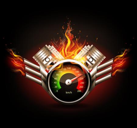 Racing achtergrond, snelheidsmeter en zuigers. Vector Illustratie