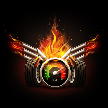 Racing background, speedometer and wheels with fire.