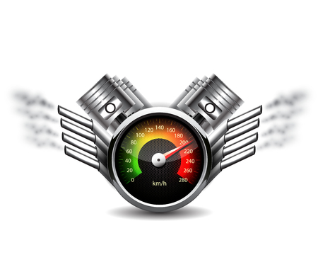 Racing background, speedometer and pistons.
