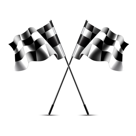 Two crossed checkered racing flags on white