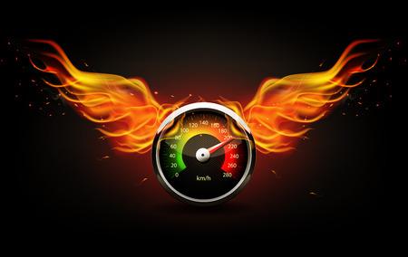Prędkościomierz ze skrzydłami ognia. Wyścigi w tle.