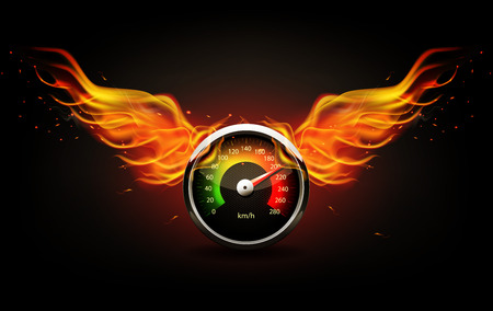 Speedometer with fire wings. Racing background. Vettoriali