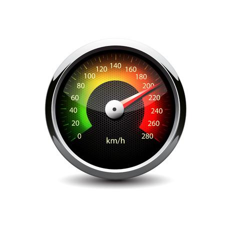 Illuminated speedometer on a white background