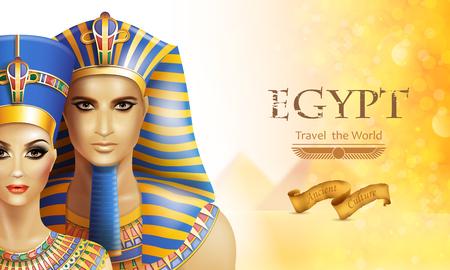 Background with queen Nefertiti and pharaoh Tutankhamen. Illustration