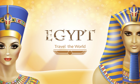 Background with queen Nefertiti and pharaoh Tutankhamen. Иллюстрация