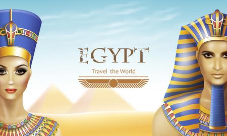 queen nefertiti: Background with queen Nefertiti and pharaoh Tutankhamen. Illustration