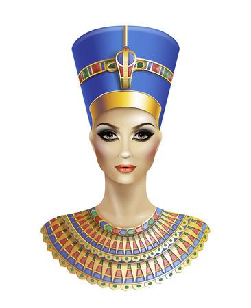 Egyptische koningin Nefertiti geïsoleerd op een witte achtergrond. Vector Illustratie