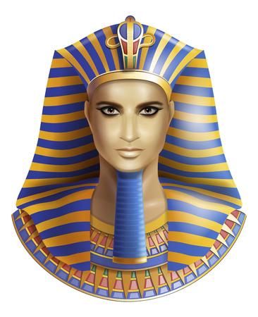 Egyptian pharaoh Tutankhamen isolated on white background. Vettoriali