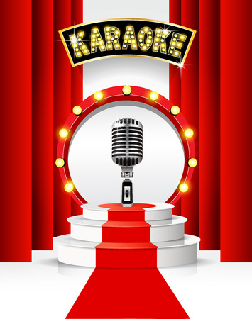 Karaoke party background with podium and microphone. Illustration
