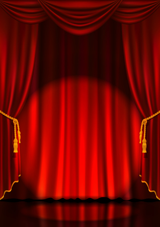 Theater stage with red curtain and spotlight. Vector illustration.