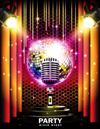 Etapa con podio, micrófono retro, bola de discoteca y focos. Partido del disco o fondo del karaoke. Ilustración de vector