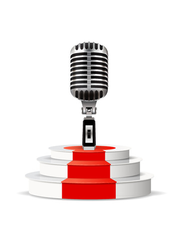 metallic stairs: Background with retro microphone and podium isolated on white background.