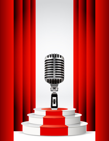 metallic stairs: Background with retro microphone and podium. Stand up night show or karaoke party.