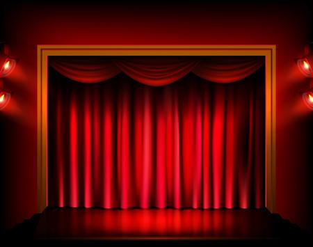 赤いカーテンとスポット ライト劇場の舞台。