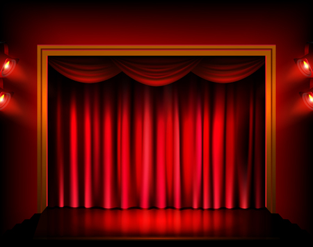 Theater stage with red curtains and spotlights.