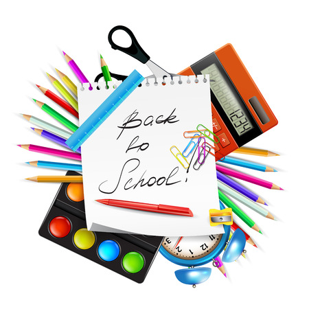 Back to school. Set of school icons isolated on white background. Illustration