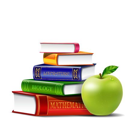 Pile of books with green apple isolated on white background. Illustration