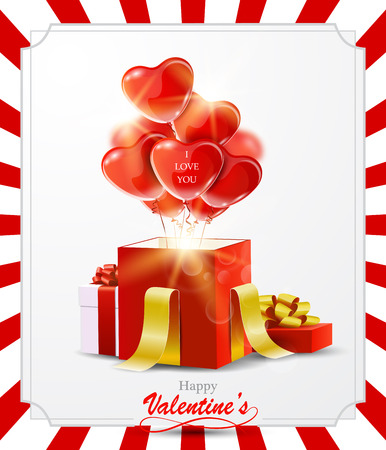Happy Valentines Day greeting card with heart balloons and gift boxes.